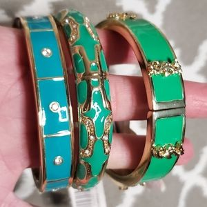 NEW Anna & Ava Teal Rhinestone Bangle Bracelet
